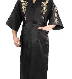 bata kimono de baño para hombre negra