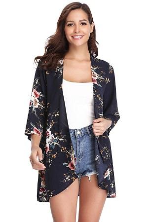 kimono chaqueta de mujer negro