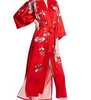 kimono de seda rojo de mujer