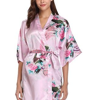 kimono rosa floral
