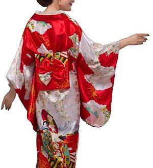 kimono tradicional japones rojo de mujer